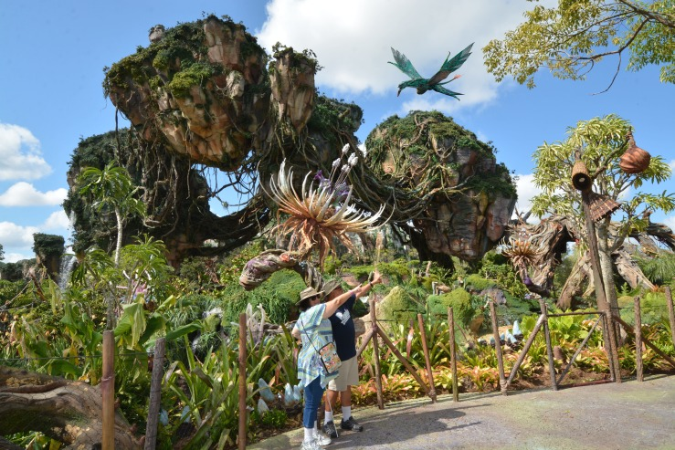 Nelson and I in front of floating Mountains at the World of Avatar - Pandora at Disney's Animal Kingdom