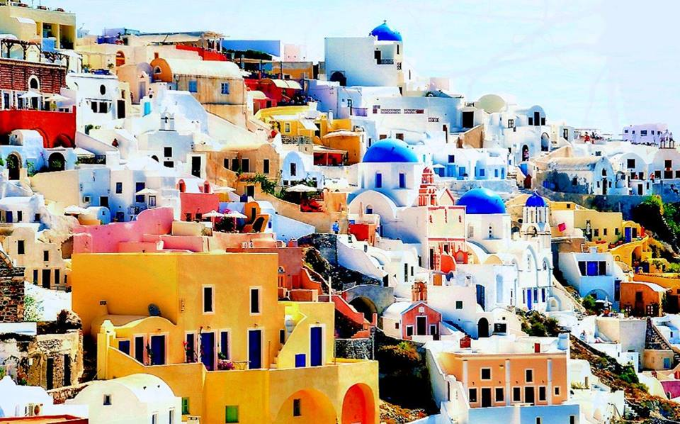 photo of Greek homes on the mountain